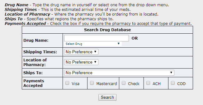 USA Meds Online Search Option